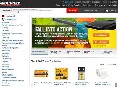 example of a large manufacturer or distributor website