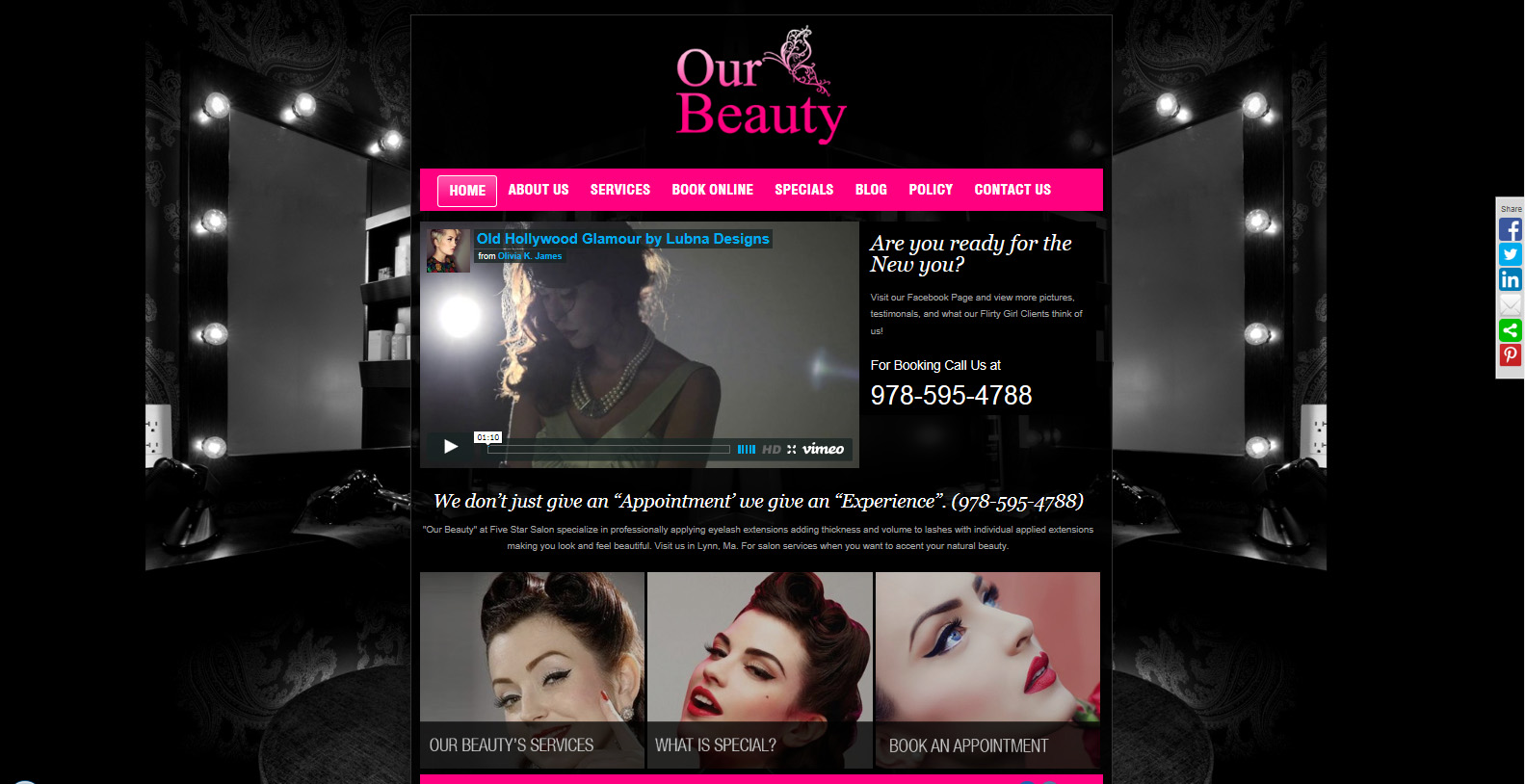 Custom website for a beauty salon