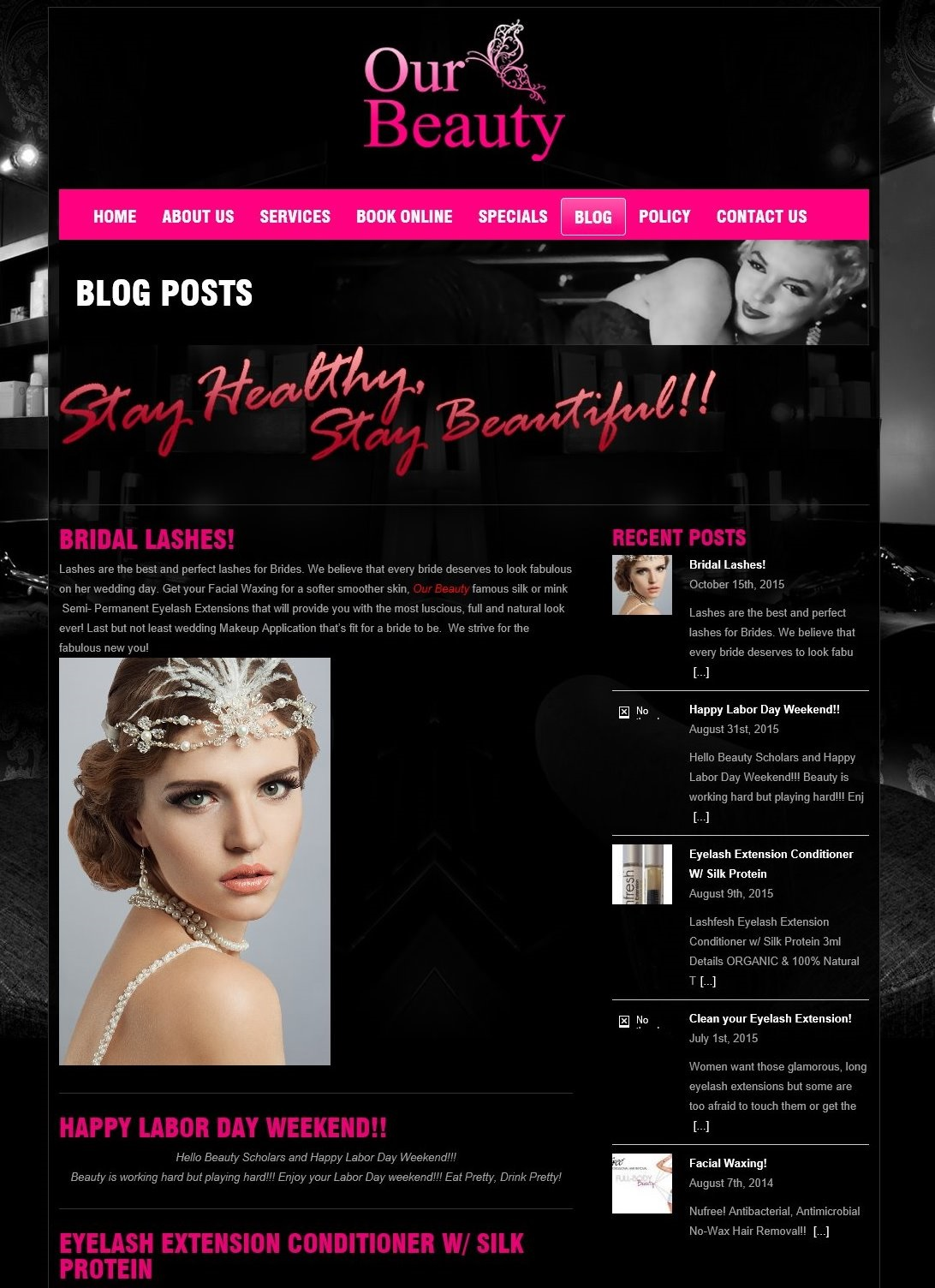 Beauty parlour website