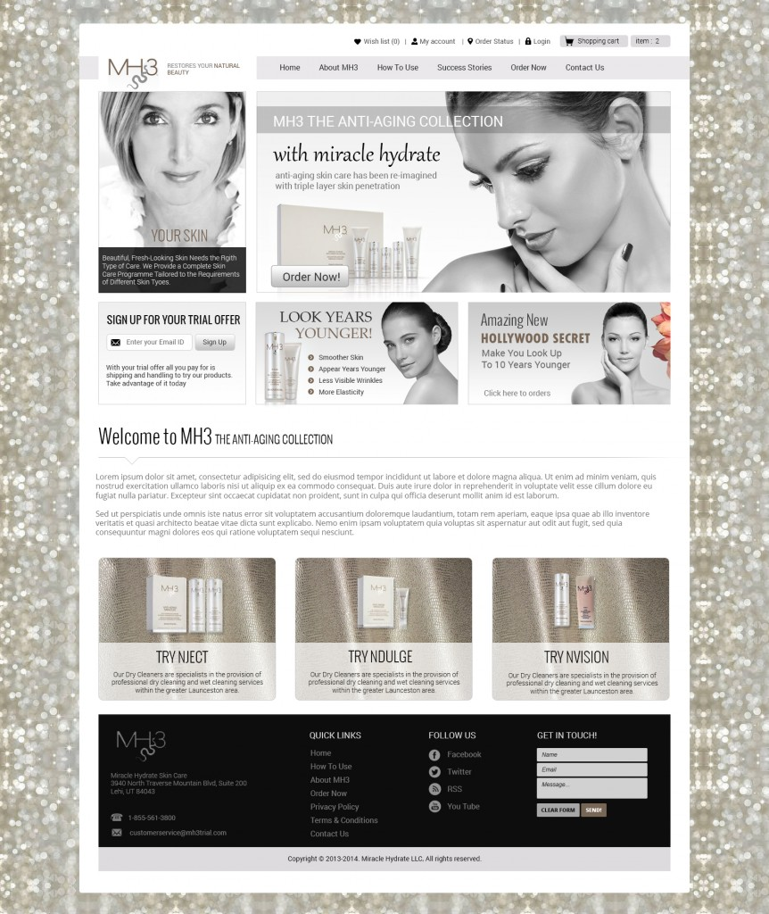 Web design and development of high end skin care, cosmetics and beauty products, Dallas, TX, USA