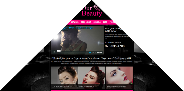 Custom web design for a beauty salon, hair stylist, make up artist