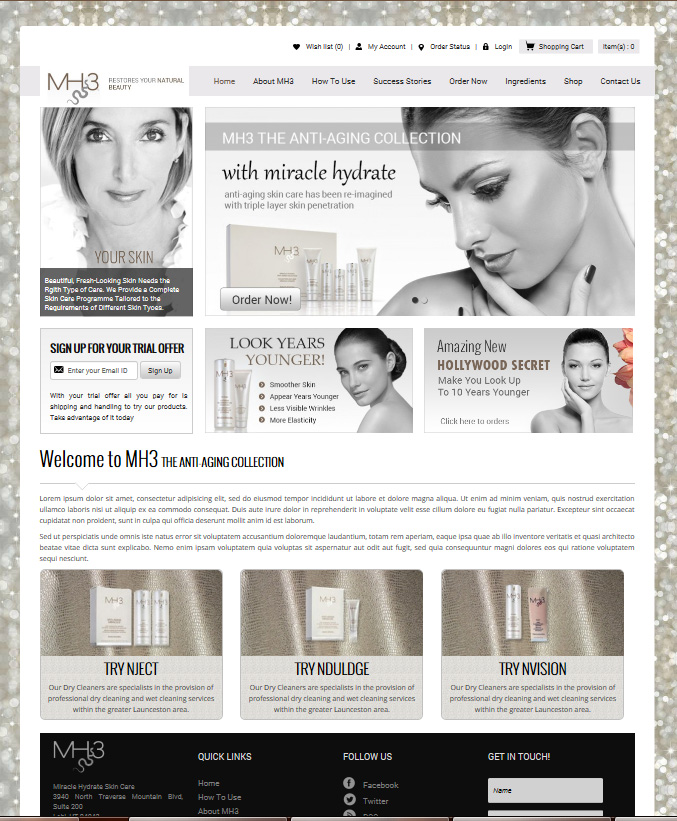 Web design and development of high end beauty products, skin care, cosmetics line
