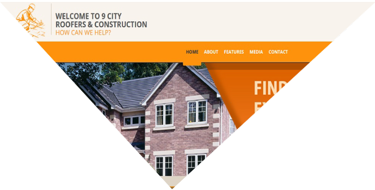 Example of website for roofing and construction company