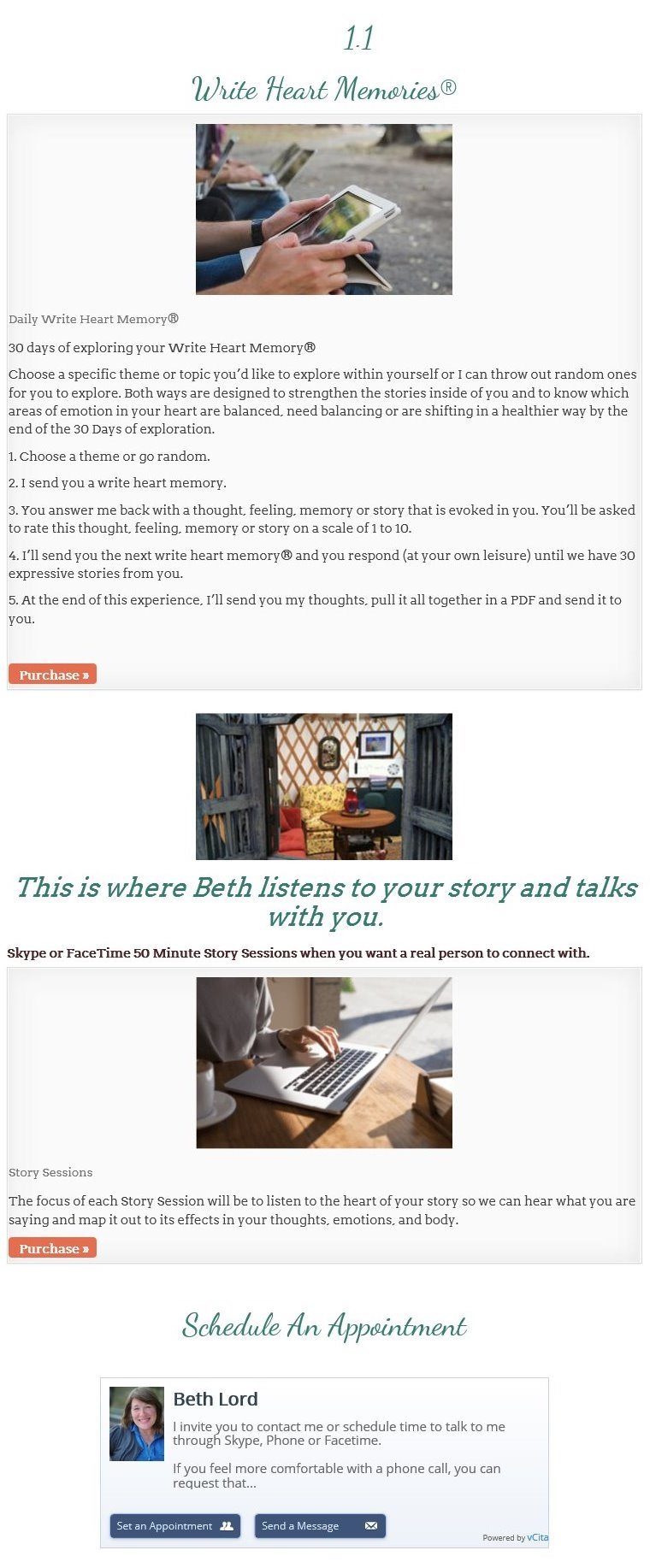 One on One sessions to help you write your story